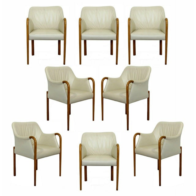 Wood Contemporary Modern Set 8 Giorgetti Progetti Italian Wood Dining Armchairs 1990s For Sale - Image 7 of 7