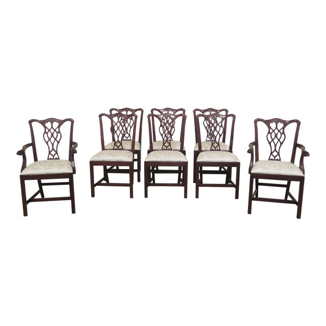 Councill Craftsmen Chippendale Mahogany Dining Room Chairs- Set of 8