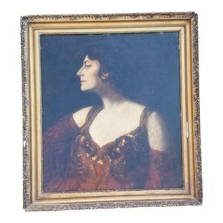 French Art Nouveau Portrait of a Woman Circa 1880 For Sale