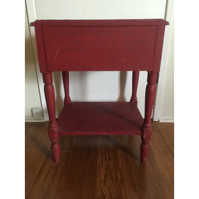 Distressed Maroon One Drawer Side Table - Image 5 of 7