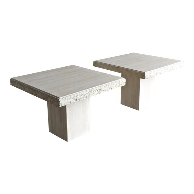 1980s Vintage Travertine Side Tables- A Pair For Sale