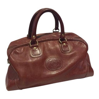 Iconic Vintage Leather Ghurka Bag Travel Duffel Overnight Weekender Tote For Sale