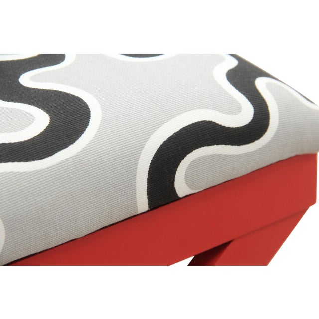 Mission Avenue Studio Cumulus Red Curule Bench For Sale - Image 4 of 7