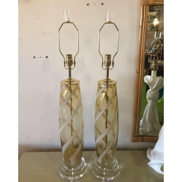 Vintage Murano Italian Amber Swirl Glass Brass Lucite Table Lamps - A Pair For Sale - Image 13 of 13