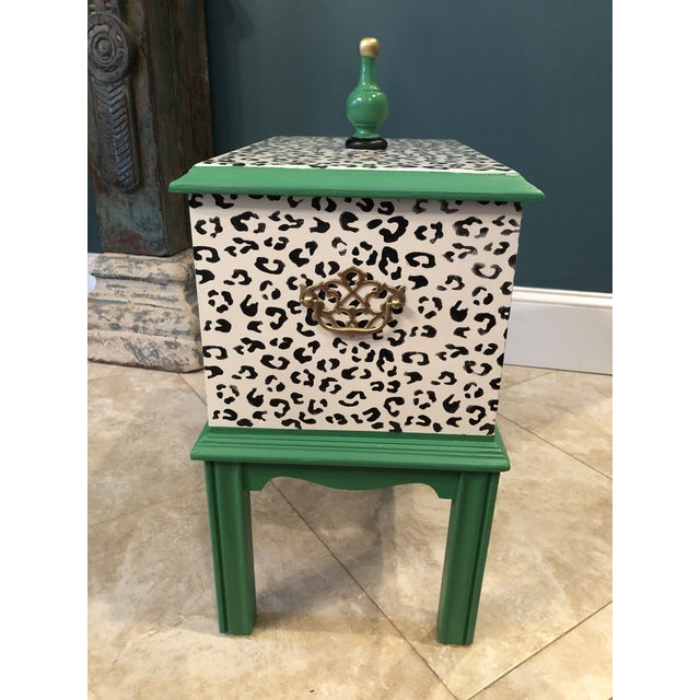 1970s Leopard Motif Black and White Chest For Sale - Image 5 of 10