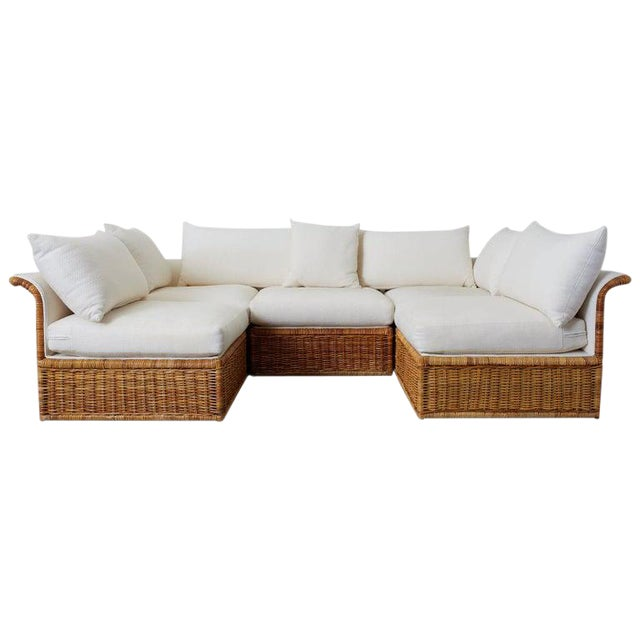 Michael Taylor Style Rattan Wicker Sectional Sofa For Sale