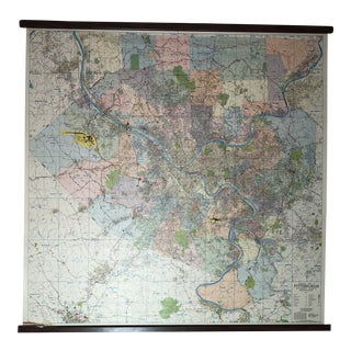 Pittsburgh Vintage Wall Map For Sale