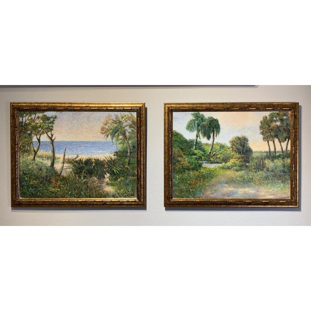 Green Mid 20th Century Florida Seascape Oil Paintings by Vladimir Ctibor, Framed - a Pair For Sale - Image 8 of 8