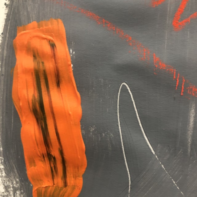 Orange Abstract Painting With Pastel 1990s For Sale - Image 8 of 11