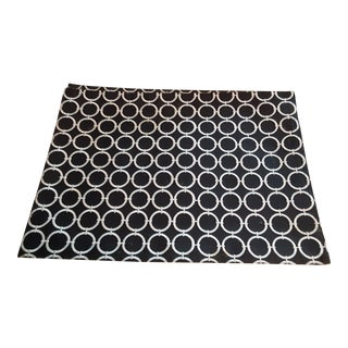 Modern White Circles on Black Placemats - Set of 4 For Sale