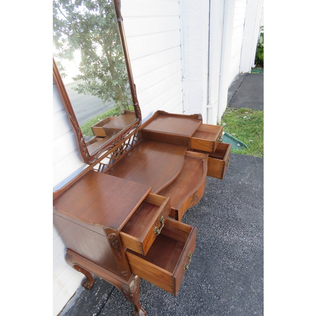 Chippendale Ball and Claw Feet Flame Mahogany Vanity Table and Mirror For Sale - Image 12 of 13