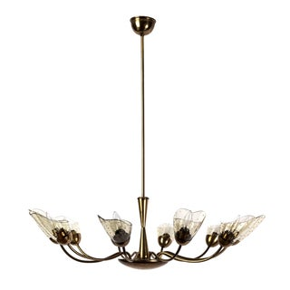 Italian Mid-Century Chandelier With Floral Motif For Sale