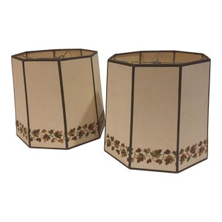 Embroidered Border Linen Lampshades - a Pair For Sale