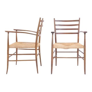 Pair of Ladder Back Chairs in the Style of Gio Ponti, Made in Italy For Sale