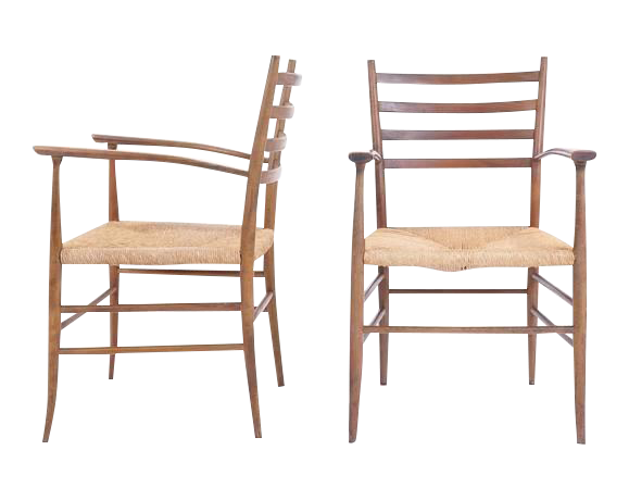 Sophisticated Pair Of Ladder Back Chairs In The Style Of Gio Ponti, Made In  Italy | DECASO