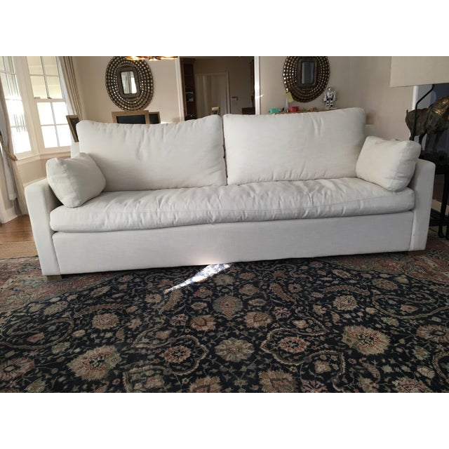 Feather Restoration Hardware Belgian Track Arm Sofa For Sale - Image 7 of 7
