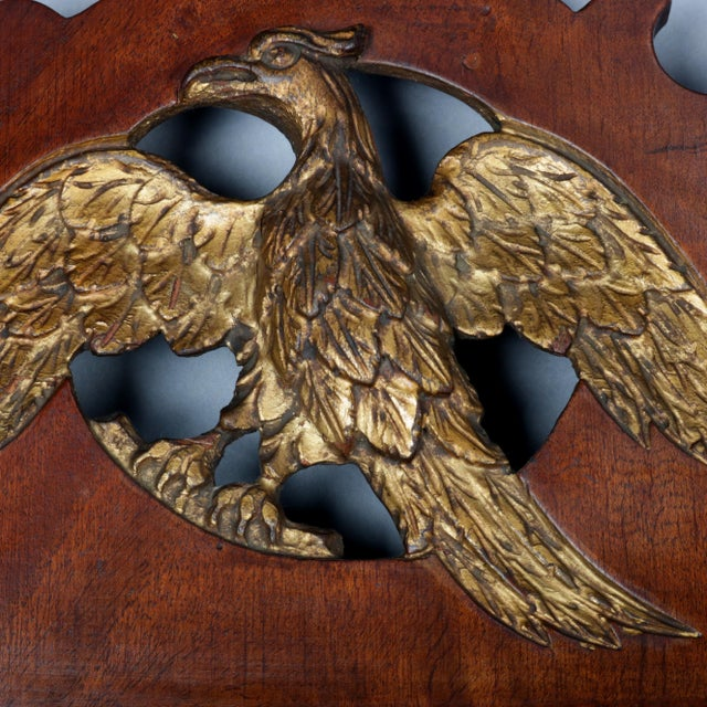 Chippendale Antique Federal Chippendale Figural Mahogany & Gilt Phoenix Wall Mirror For Sale - Image 3 of 10