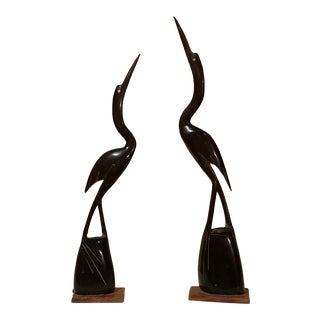 Carved Water Buffalo Horn Heron Birds For Sale