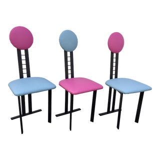 1960s Memphis Style Dot Dining Chairs - Set of 3 For Sale