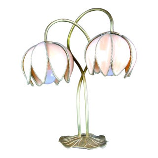 Vintage Brass Lotus Flower Table Lamp For Sale