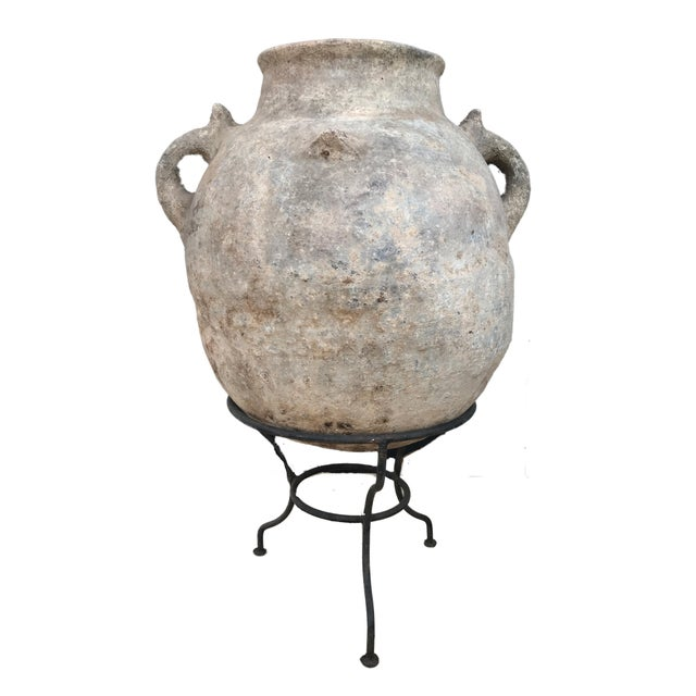 """Black Lg Saharian Terracota Pot W/ Stand 29"""" H For Sale - Image 8 of 8"""