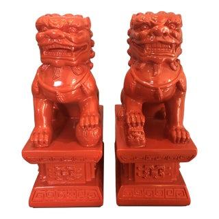 Coral Red Foo Dog Bookends - a Pair For Sale