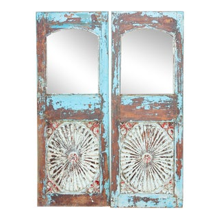Set of Two, British Colonial Nightstands Indo-Portuguese Sunburst Azul Mirrors For Sale