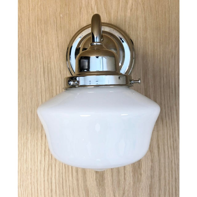 "Hudson Valley School House Wall Sconce Polished Nickel with Milk Glass Shade O.A. Dimensions: 6""W x 8.5""D x 9""H Back..."