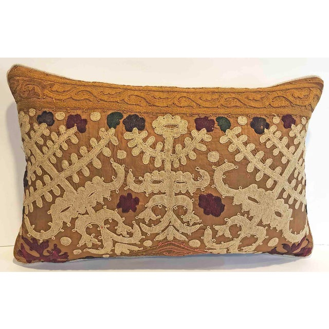 American Vintage Embroidered Down Feather Lumbar Pillow For Sale - Image 3 of 3