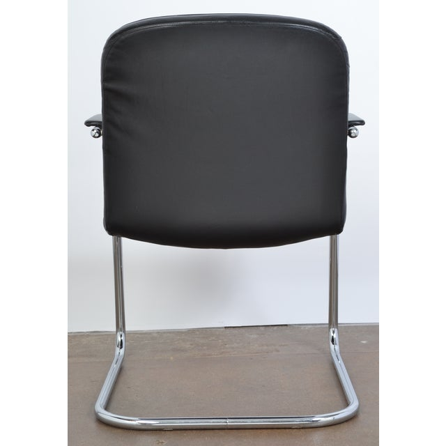 Mid-Century Leather & Chrome Armchairs - A Pair - Image 7 of 10