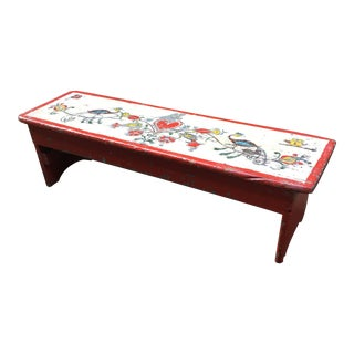 Hand Painted Folk Art Bench For Sale