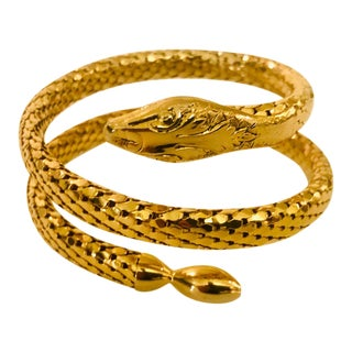 Victorian Revival Gold Mesh Serpent Bracelet For Sale