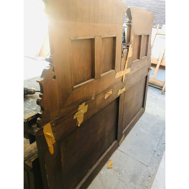 Brown 19th Century Jacobean Carved Head Board for King Size Bed With Night Stands - 3 Pieces For Sale - Image 8 of 12
