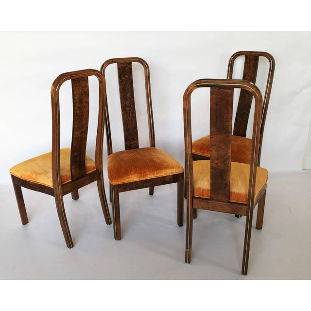 1970s Set of Six Burl Wood and Brass Dining Chairs by Century Furniture For Sale - Image 5 of 7