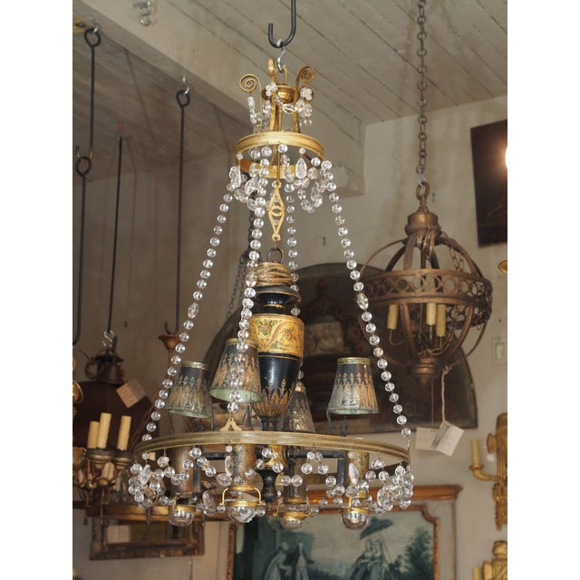 18th Century French Tole and Crystal Chandelier For Sale - Image 11 of 11