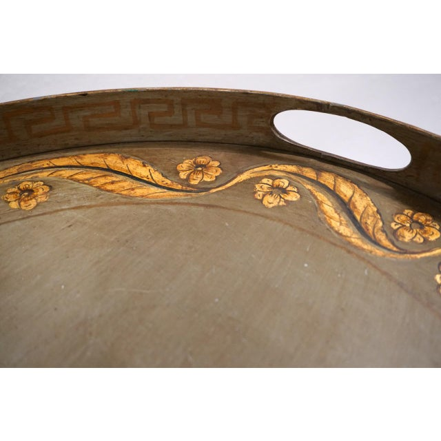 Vintage Italian Tole Table on Gold Bamboo Stand For Sale - Image 4 of 11