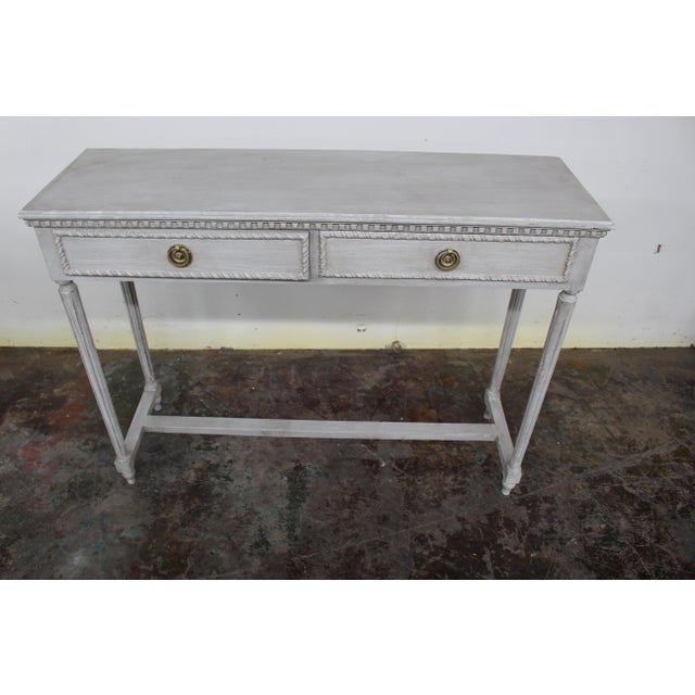 Light Gray 20th Century Vintage Swedish Gustavian Style Console Table For Sale - Image 8 of 8