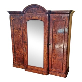 19c British Burl Walnut Breakfront 3 Door Wardrobe With Chest of Drawers For Sale