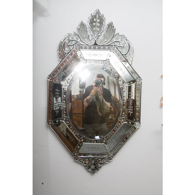 Bronze 20th Century Octagonal Etched Venetian Mirror For Sale - Image 7 of 7