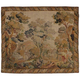 "Antique French Rococo Noble Pastoral Style Tapestry Inspired by Francois Boucher - 9'8"" x 11'2"" For Sale"