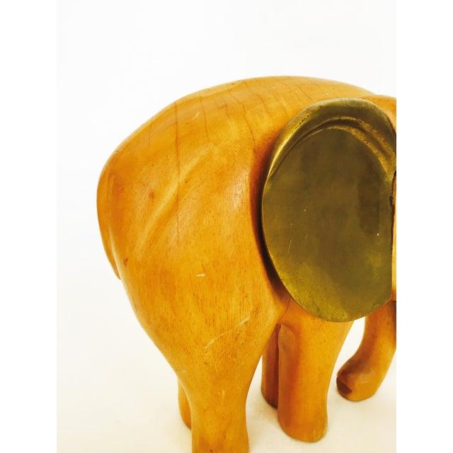 Vintage Large Wood and Brass Elephant - Image 6 of 6