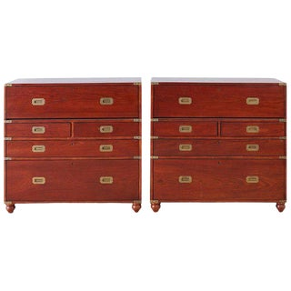 Pair of Mid Century Mahogany Campaign Style Writing Chests For Sale