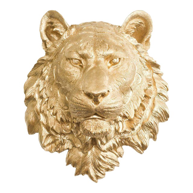 Wall Charmers Gold Faux Taxidermy Tiger Head Wall Sculpture - Image 1 of 3