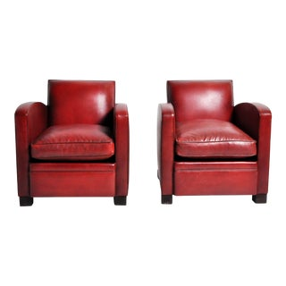 French Art Deco Red Leather Club Chairs - a Pair For Sale