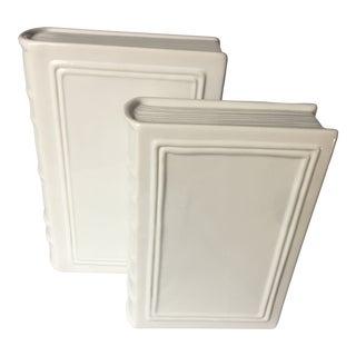 Contemporary White Ceramic Bookends / Sculpture Decor - a Pair For Sale