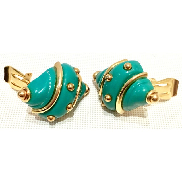 Late 20th Century 20th Century Kenneth J Lane Gold & Enamel Snail Form Earrings For Sale - Image 5 of 11