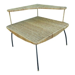 Vintage Mid-Century Two Tier Wicker Table