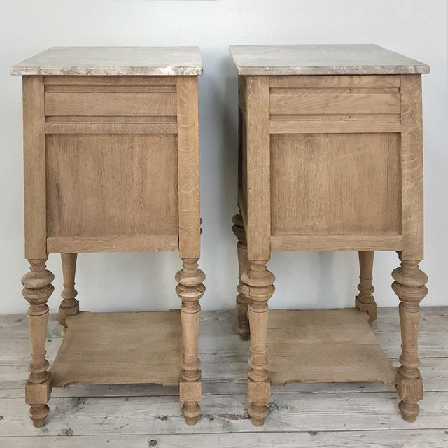 Pair Antique French Louis XVI Stripped Marble Top Nightstands For Sale - Image 10 of 12