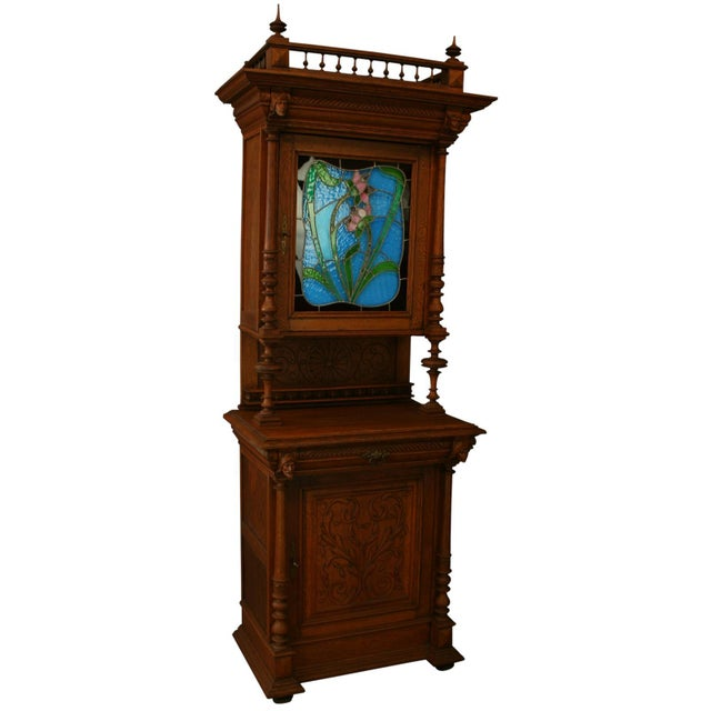Antique Flemish Floral Stained Glass & Oak Hutch - Image 1 of 8