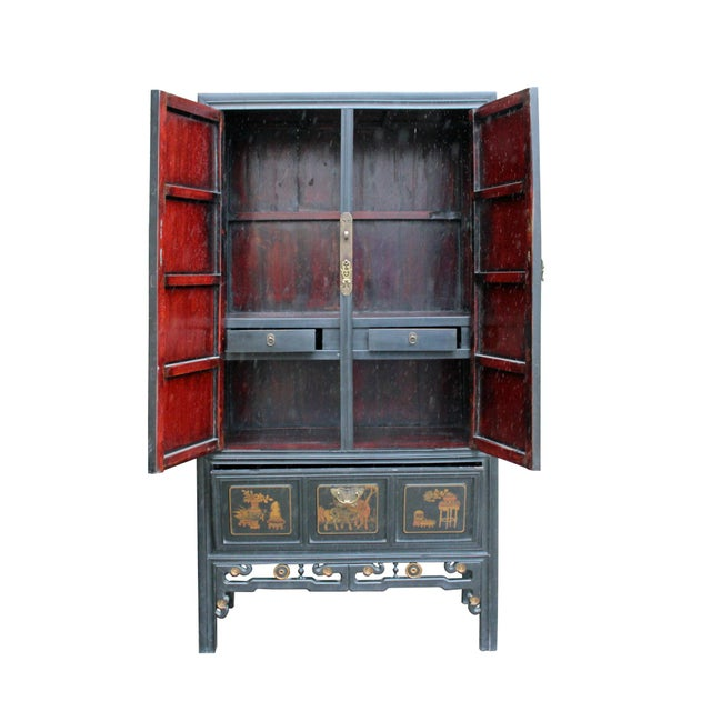 Wood Chinese Fujian Golden Mountian Water Graphic Tall Armoire Cabinet For Sale - Image 7 of 10